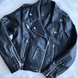 Blank NYC Star Studded Black Leather Moto Jacket